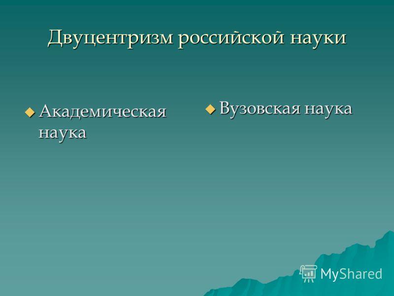 Двуцентризм российской науки Академическая наука Академическая наука Вузовская наука Вузовская наука