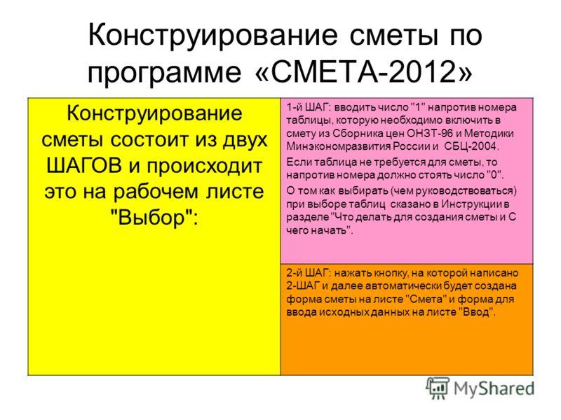Конструирование сметы по программе «СМЕТА-2012» Конструирование сметы состоит из двух ШАГОВ и происходит это на рабочем листе