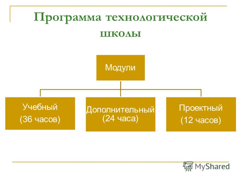 Программа технологической школы Модули Учебный (36 часов) Дополнительный (24 часа) Проектный (12 часов)