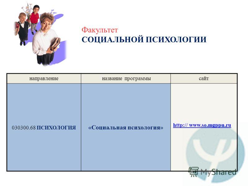 Факультет СОЦИАЛЬНОЙ ПСИХОЛОГИИ направление название программысайт 030300.68 ПСИХОЛОГИЯ «Социальная психология» http:// www.so.mgppu.ru