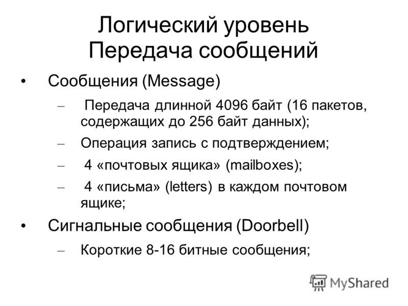 Логический уровень Передача сообщений Сообщения (Message) – Передача длинной 4096 байт (16 пакетов, содержащих до 256 байт данных); – Операция запись с подтверждением; – 4 «почтовых ящика» (mailboxes); – 4 «письма» (letters) в каждом почтовом ящике;