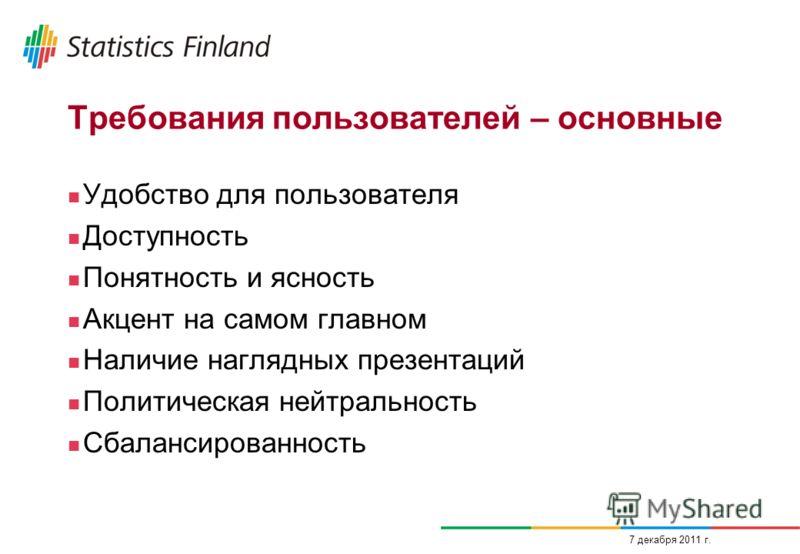 7 декабря 2011 г. Требования пользователей – основные Удобство для пользователя Доступность Понятность и ясность Акцент на самом главном Наличие наглядных презентаций Политическая нейтральность Сбалансированность