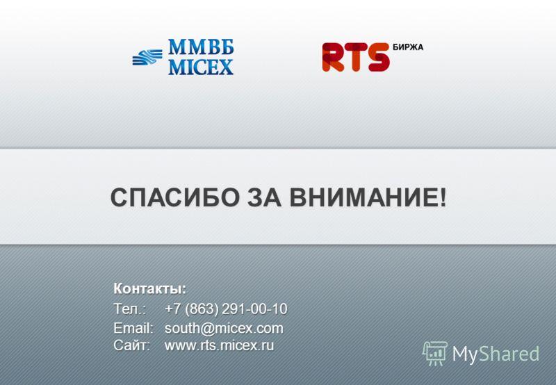 СПАСИБО ЗА ВНИМАНИЕ! Контакты: Tел.:+7 (863) 291-00-10 Email:south@micex.com Сайт: www.rts.micex.ru