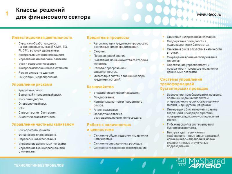 1 www.i-teco.ru Классы решений для финансового сектора Инвестиционная деятельность Сквозная обработка сделок на финансовых рынках (FX/MM, EQ, FI, CM), включая деривативы. Контроль лимитов по операциям. Управление клиентскими заявками. Учет и оформлен
