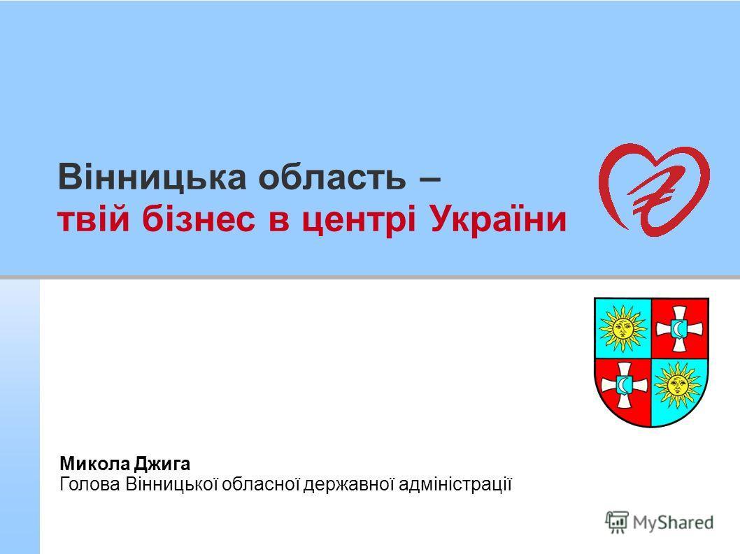 Вінницька область – твій бізнес в центрі України Микола Джига Голова Вінницької обласної державної адміністрації