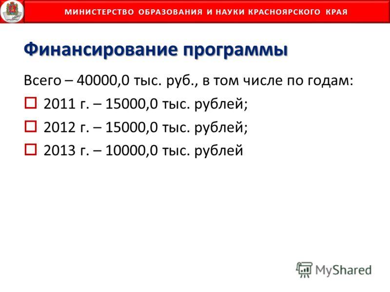 МИНИСТЕРСТВО ОБРАЗОВАНИЯ И НАУКИ КРАСНОЯРСКОГО КРАЯ МИНИСТЕРСТВО ОБРАЗОВАНИЯ И НАУКИ КРАСНОЯРСКОГО КРАЯ Финансирование программы Всего – 40000,0 тыс. руб., в том числе по годам: 2011 г. – 15000,0 тыс. рублей; 2012 г. – 15000,0 тыс. рублей; 2013 г. –