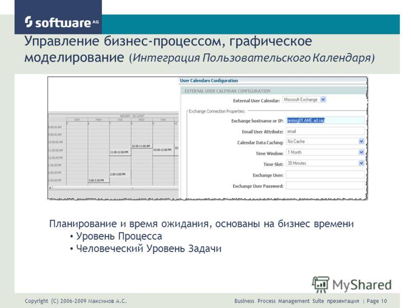 Copyright (C) 2006-2009 Максимов А.С. Business Process Management Suite презентация | Page 10 Управление бизнес-процессом, графическое моделирование (Интеграция Пользовательского Календаря) Планирование и время ожидания, основаны на бизнес времени Ур