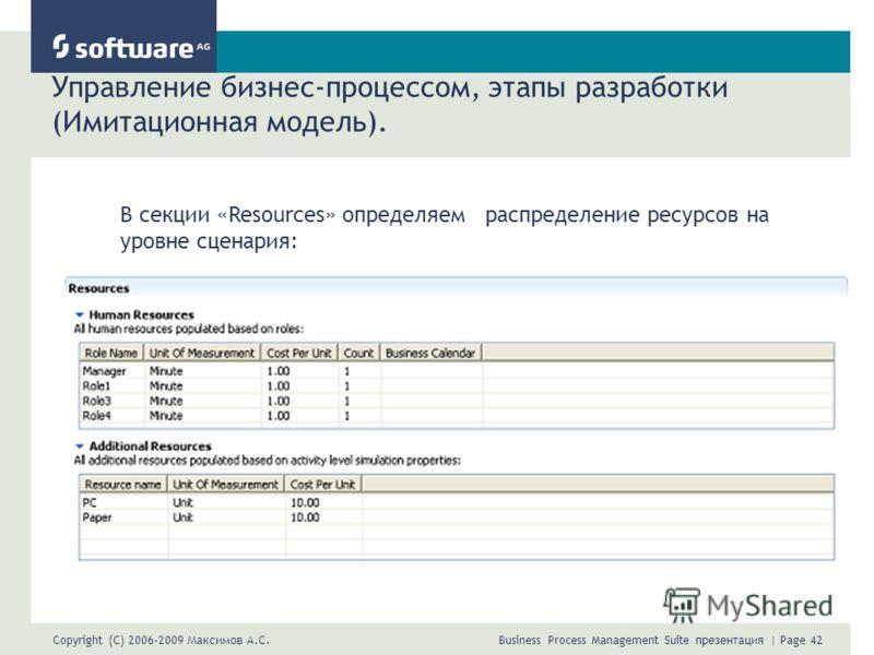 Copyright (C) 2006-2009 Максимов А.С. Business Process Management Suite презентация | Page 42 Управление бизнес-процессом, этапы разработки (Имитационная модель). В секции «Resources» определяем распределение ресурсов на уровне сценария: