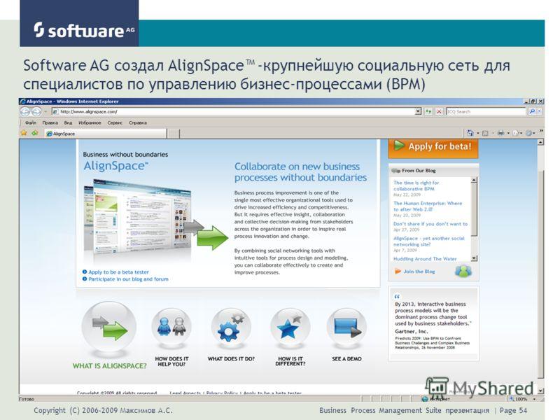 Copyright (C) 2006-2009 Максимов А.С. Business Process Management Suite презентация | Page 54 Software AG создал AlignSpace -крупнейшую социальную сеть для специалистов по управлению бизнес-процессами (BPM)