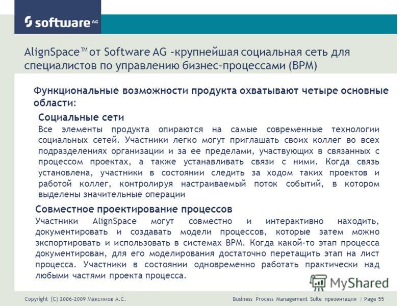 Copyright (C) 2006-2009 Максимов А.С. Business Process Management Suite презентация | Page 55 AlignSpace от Software AG –крупнейшая социальная сеть для специалистов по управлению бизнес-процессами (BPM) Функциональные возможности продукта охватывают
