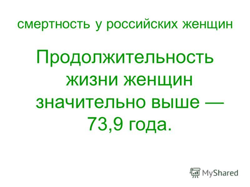 смертность у российских женщин Продолжительность жизни женщин значительно выше 73,9 года.