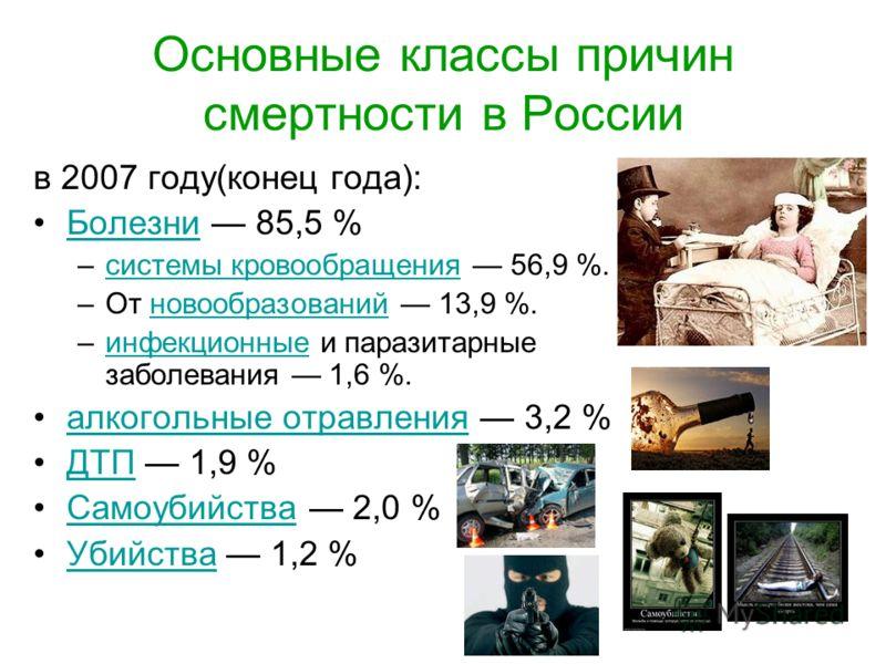 Основные классы причин смертности в России в 2007 году(конец года): Болезни 85,5 %Болезни –системы кровообращения 56,9 %.системы кровообращения –От новообразований 13,9 %.новообразований –инфекционные и паразитарные заболевания 1,6 %.инфекционные алк
