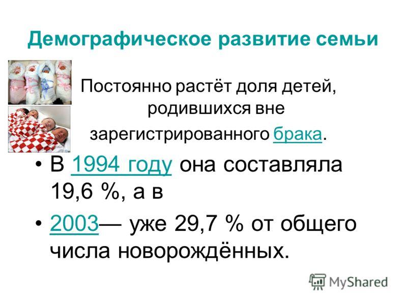 Демографическое развитие семьи Постоянно растёт доля детей, родившихся вне зарегистрированного брака.брака В 1994 году она составляла 19,6 %, а в1994 году 2003 уже 29,7 % от общего числа новорождённых.2003