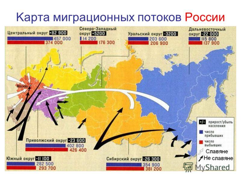 Kарта миграционных потоков России