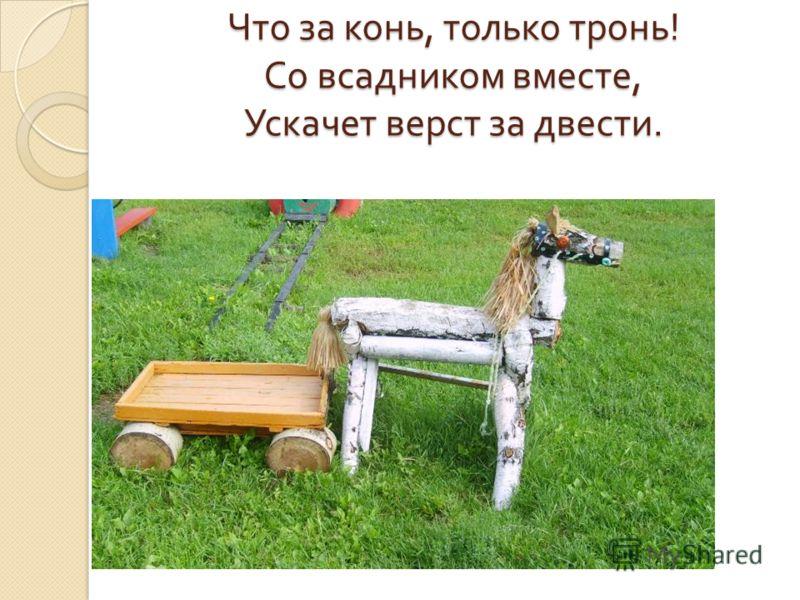 Что за конь, только тронь ! Со всадником вместе, Ускачет верст за двести.