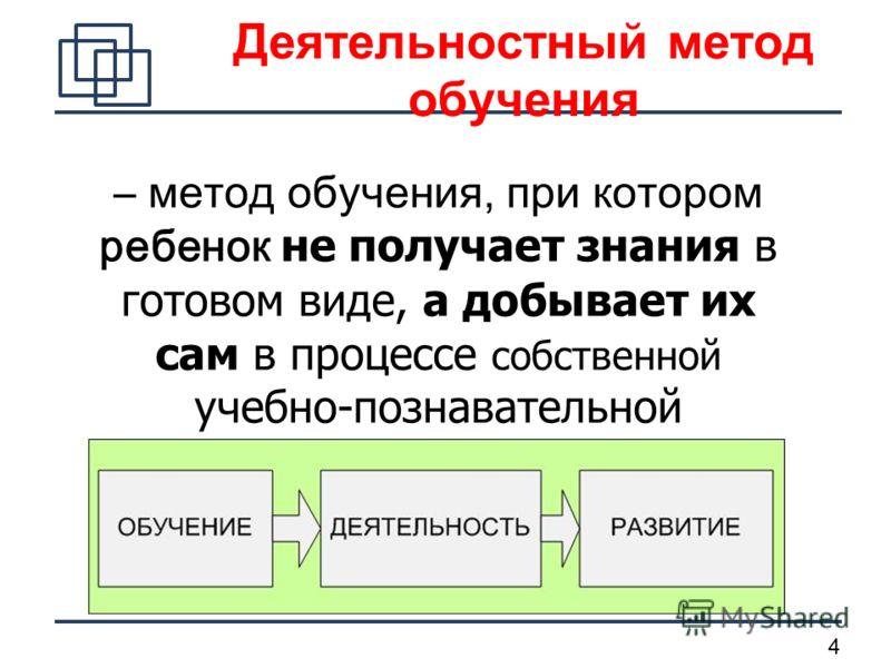4 – м етод обучения, при котором ребенок не получает знания в готовом виде, а добывает их сам в процессе собственной учебно-познавательной деятельности Деятельностный метод обучения