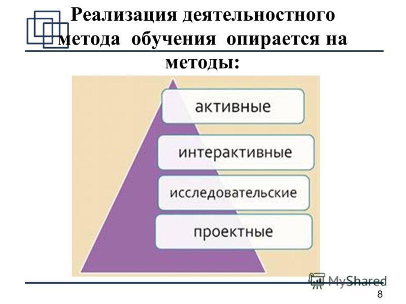 8 Реализация деятельностного метода обучения опирается на методы: