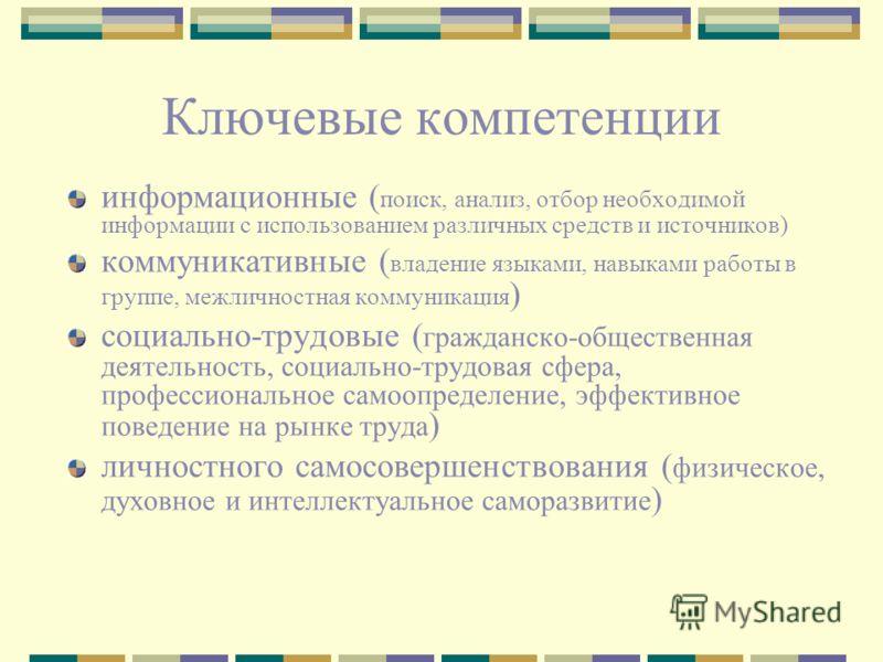 Ключевые компетенции информационные ( поиск, анализ, отбор необходимой информации с использованием различных средств и источников) коммуникативные ( владение языками, навыками работы в группе, межличностная коммуникация ) социально-трудовые ( граждан