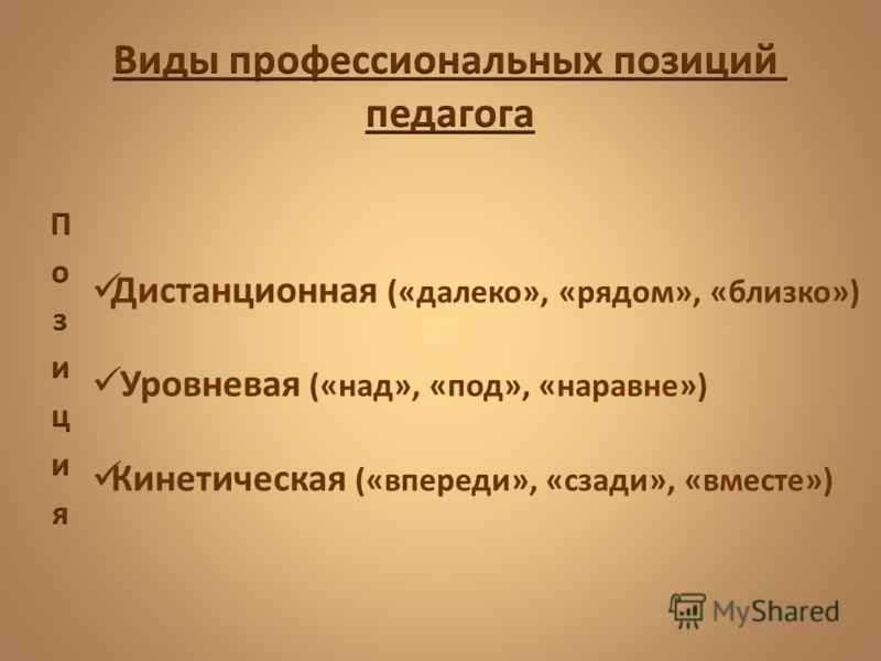 Дистанционная («далеко», «рядом», «близко») Уровневая («над», «под», «наравне») Кинетическая («впереди», «сзади», «вместе»)