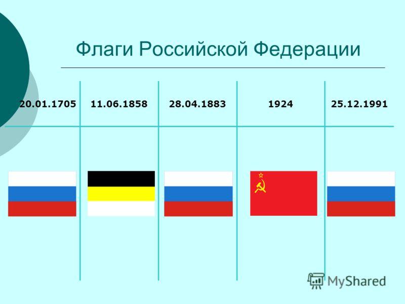 Флаги Российской Федерации 20.01.170511.06.185828.04.1883192425.12.1991