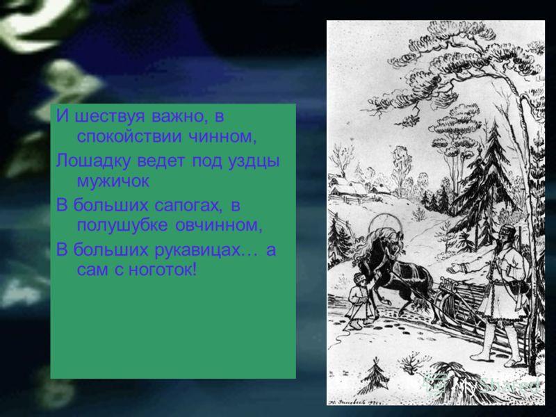 И шествуя важно, в спокойствии чинном, Лошадку ведет под уздцы мужичок В больших сапогах, в полушубке овчинном, В больших рукавицах… а сам с ноготок!