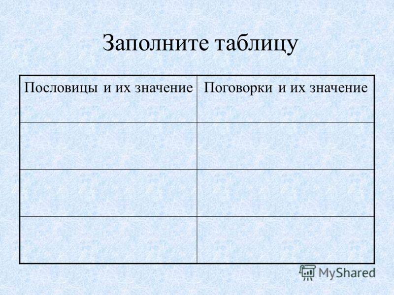 Заполните таблицу Пословицы и их значениеПоговорки и их значение