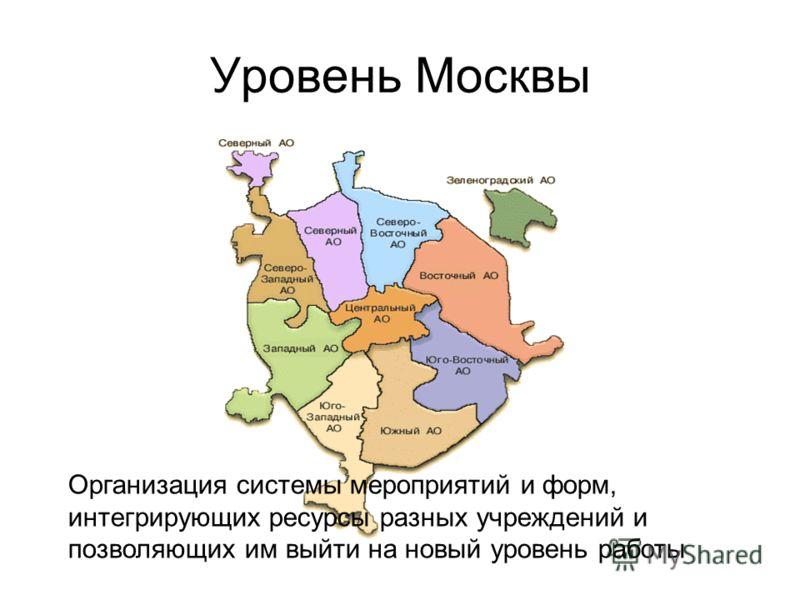 Уровень Москвы Организация системы мероприятий и форм, интегрирующих ресурсы разных учреждений и позволяющих им выйти на новый уровень работы