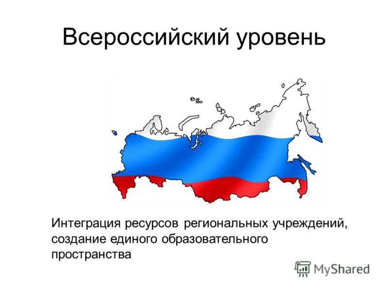 Всероссийский уровень Интеграция ресурсов региональных учреждений, создание единого образовательного пространства
