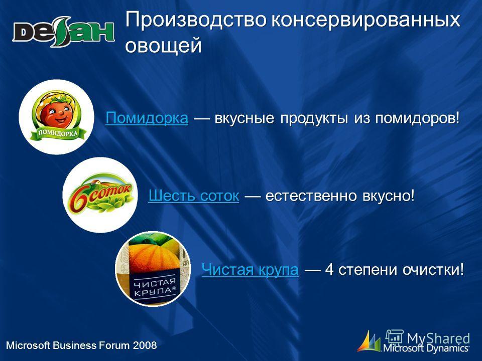 Производство консервированных овощей Microsoft Business Forum 2008 ПомидоркаПомидорка вкусные продукты из помидоров! Помидорка Шесть соток Шесть соток естественно вкусно! Шесть соток Чистая крупа Чистая крупа 4 степени очистки! Чистая крупа