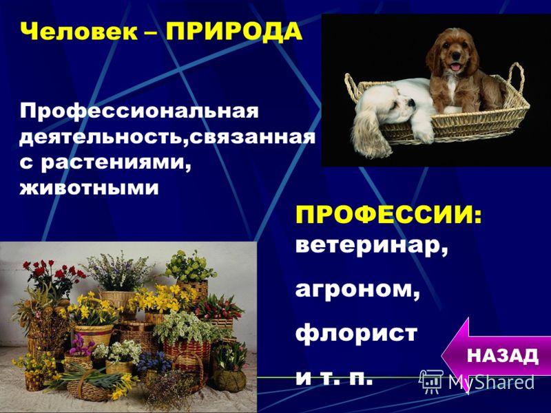 Человек – ПРИРОДА Профессиональная деятельность,связанная с растениями, животными ПРОФЕССИИ: ветеринар, агроном, флорист и т. п. НАЗАД