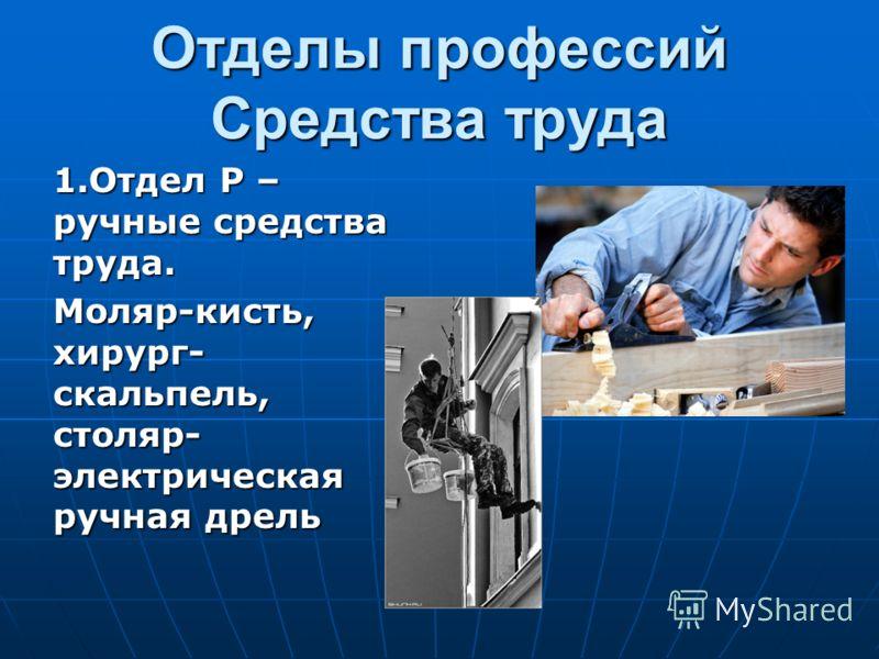 Отделы профессий Средства труда 1.Отдел Р – ручные средства труда. Моляр-кисть, хирург- скальпель, столяр- электрическая ручная дрель