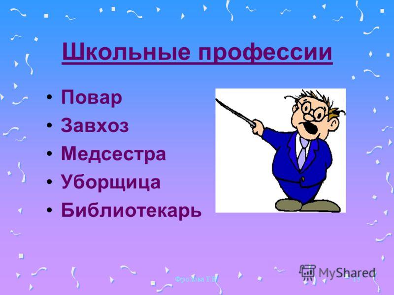 Фролова Т.В.15 Школьные профессии Повар Завхоз Медсестра Уборщица Библиотекарь