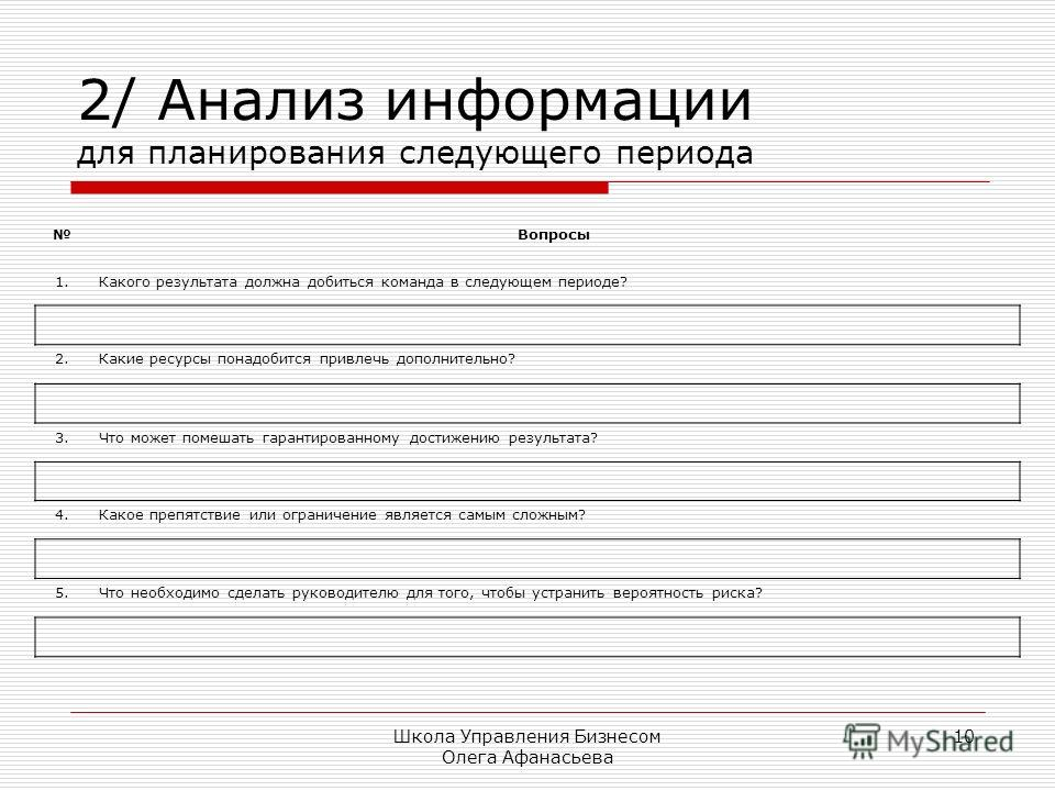 Школа Управления Бизнесом Олега Афанасьева 10 2/ Анализ информации для планирования следующего периода Вопросы 1. Какого результата должна добиться команда в следующем периоде? 2. Какие ресурсы понадобится привлечь дополнительно? 3. Что может помешат