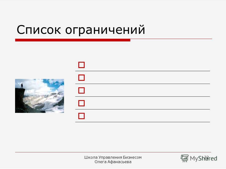 Школа Управления Бизнесом Олега Афанасьева 22 Список ограничений