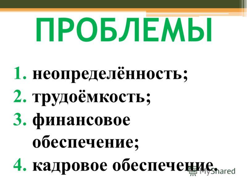 ПРОБЛЕМЫ 1.неопределённость; 2.трудоёмкость; 3.финансовое обеспечение; 4.кадровое обеспечение.