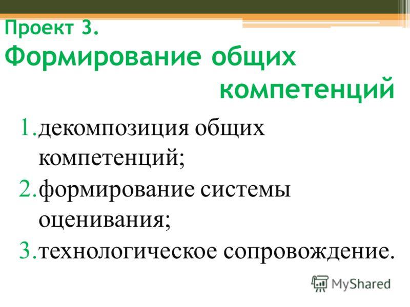 Проект 3. Формирование общих компетенций 1.декомпозиция общих компетенций; 2.формирование системы оценивания; 3.технологическое сопровождение.