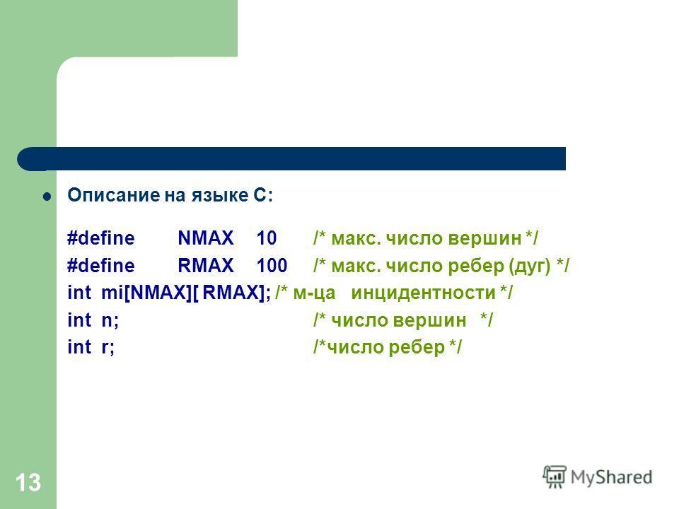 13 Описание на языке С: #defineNMAX 10/* макс. число вершин */ #defineRMAX 100/* макс. число ребер (дуг) */ int mi[NMAX][ RMAX]; /* м-ца инцидентности */ int n; /* число вершин */ int r; /*число ребер */