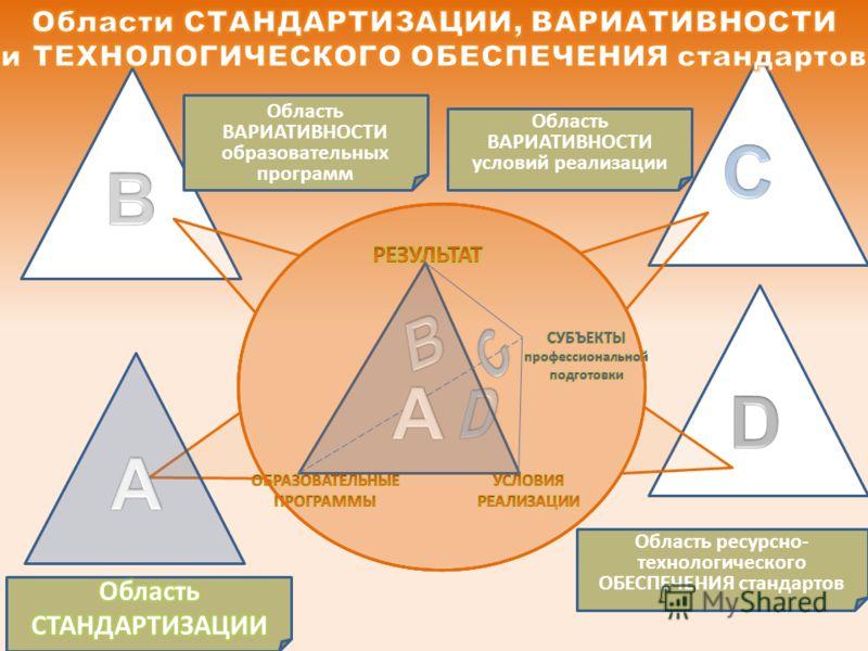 Область ВАРИАТИВНОСТИ образовательных программ Область ВАРИАТИВНОСТИ условий реализации Область ресурсно- технологического ОБЕСПЕЧЕНИЯ стандартов