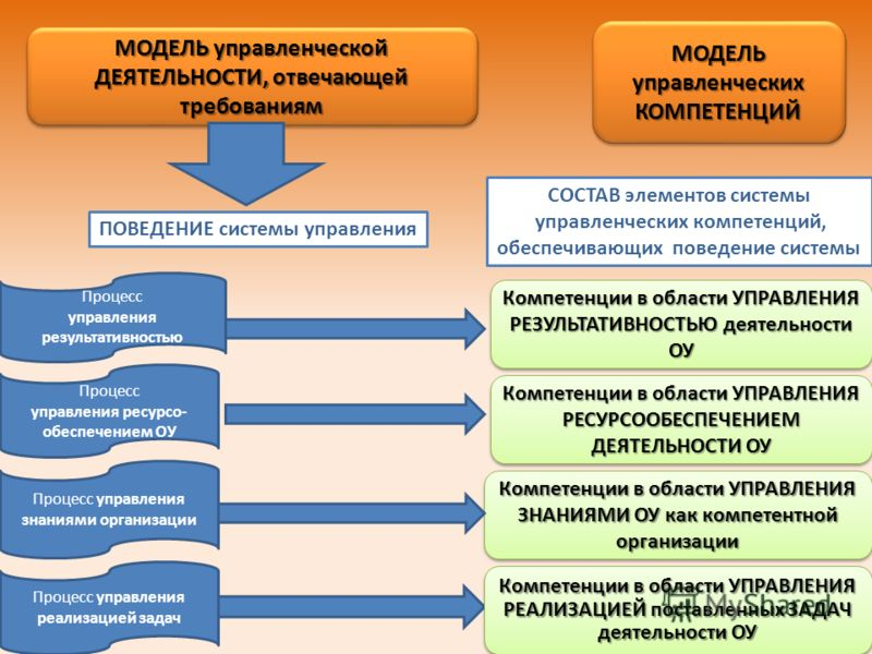 ПОВЕДЕНИЕ системы управления СОСТАВ элементов системы управленческих компетенций, обеспечивающих поведение системы Компетенции в области УПРАВЛЕНИЯ РЕЗУЛЬТАТИВНОСТЬЮ деятельности ОУ Компетенции в области УПРАВЛЕНИЯ РЕСУРСООБЕСПЕЧЕНИЕМ ДЕЯТЕЛЬНОСТИ ОУ