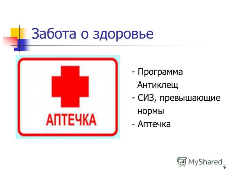 9 Забота о здоровье - Программа Антиклещ - СИЗ, превышающие нормы - Аптечка