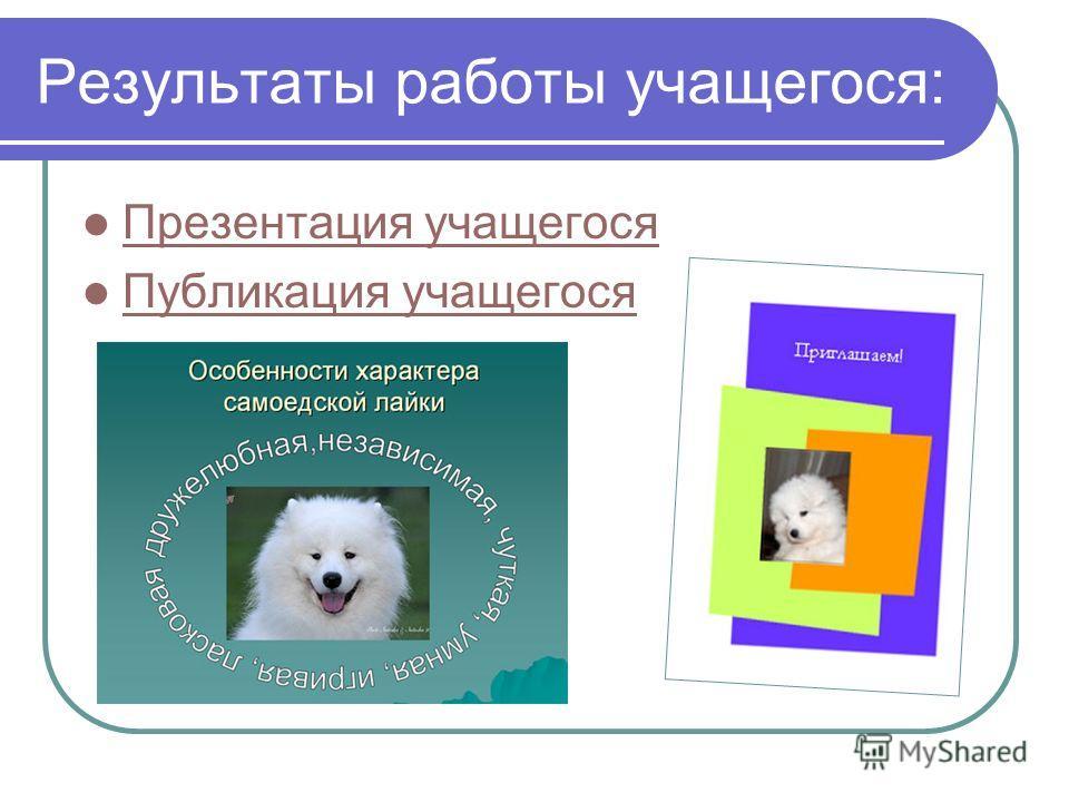 Результаты работы учащегося: Презентация учащегося Публикация учащегося