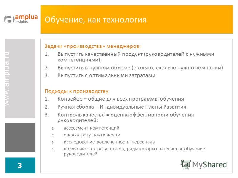 www.amplua.ru 3 Обучение, как технология Задачи «производства» менеджеров: 1.Выпустить качественный продукт (руководителей с нужными компетенциями), 2.Выпустить в нужном объеме (столько, сколько нужно компании) 3.Выпустить с оптимальными затратами По