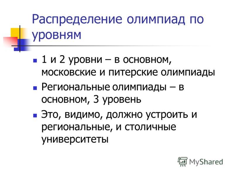 Распределение олимпиад по уровням 1 и 2 уровни – в основном, московские и питерские олимпиады Региональные олимпиады – в основном, 3 уровень Это, видимо, должно устроить и региональные, и столичные университеты