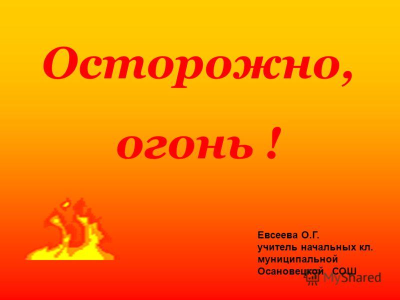 Осторожно, огонь ! Евсеева О.Г. учитель начальных кл. муниципальной Осановецкой СОШ