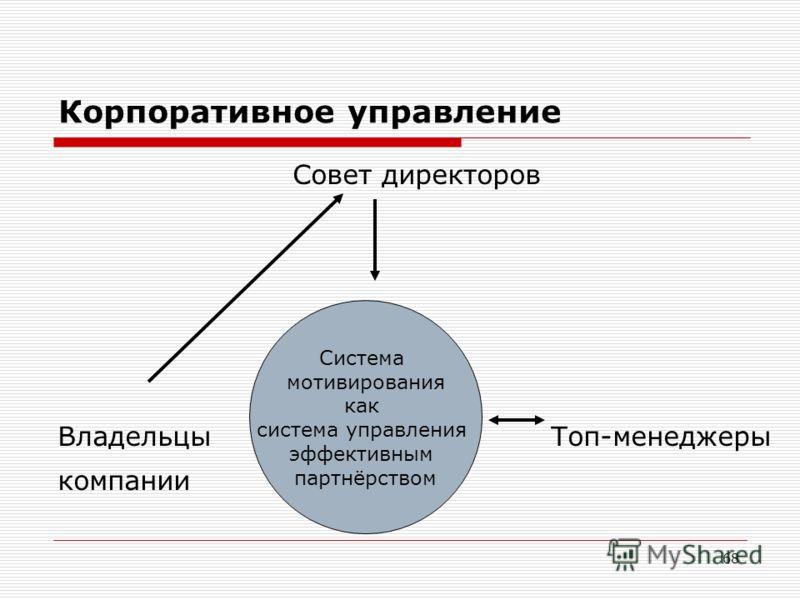 68 Корпоративное управление Совет директоров Владельцы Топ-менеджеры компании Система мотивирования как система управления эффективным партнёрством