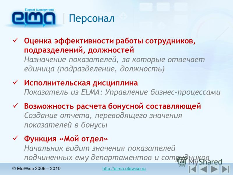 © EleWise 2006 – 2010 http://elma.elewise.ru Персонал Оценка эффективности работы сотрудников, подразделений, должностей Назначение показателей, за которые отвечает единица (подразделение, должность) Исполнительская дисциплина Показатель из ELMA: Упр