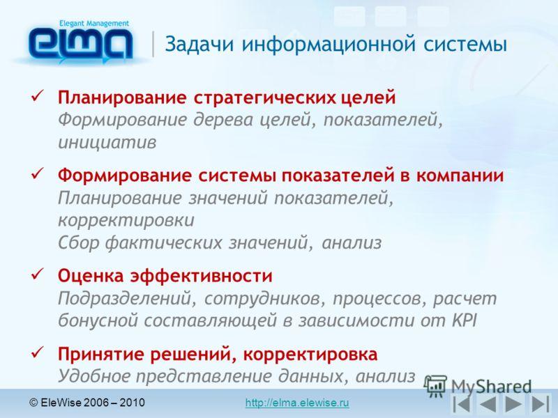 © EleWise 2006 – 2010 http://elma.elewise.ru Задачи информационной системы Планирование стратегических целей Формирование дерева целей, показателей, инициатив Формирование системы показателей в компании Планирование значений показателей, корректировк