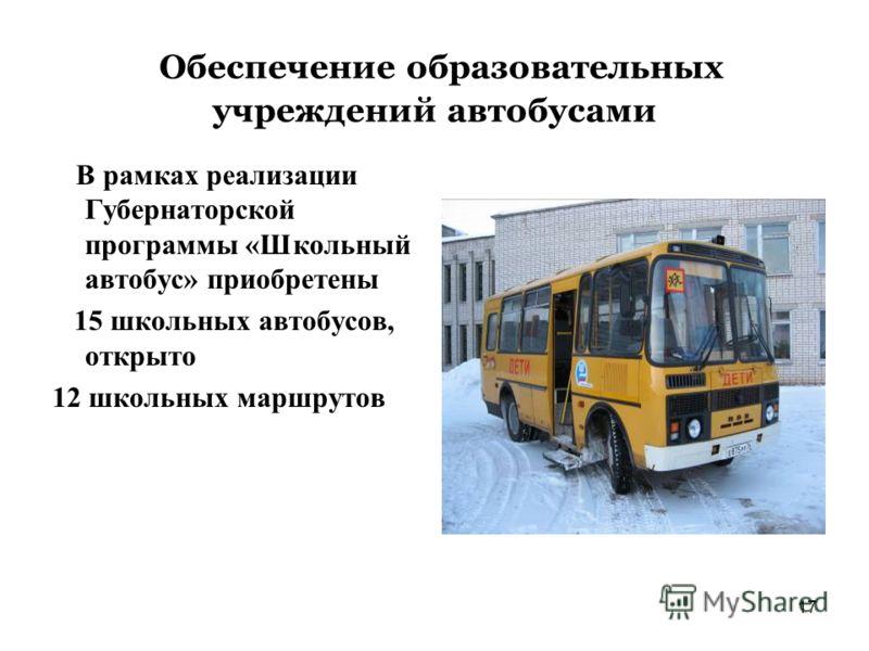 17 Обеспечение образовательных учреждений автобусами В рамках реализации Губернаторской программы «Школьный автобус» приобретены 15 школьных автобусов, открыто 12 школьных маршрутов