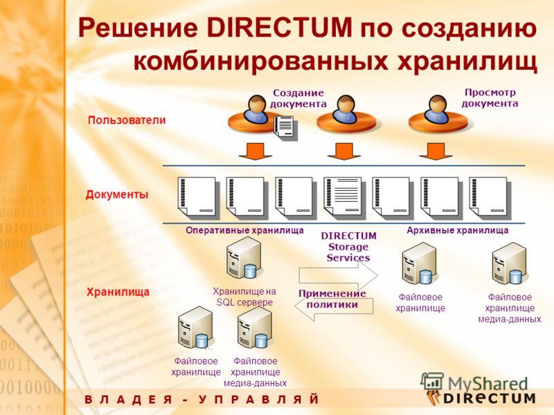 В Л А Д Е Я - У П Р А В Л Я Й Решение DIRECTUM по созданию комбинированных хранилищ Хранилище на SQL сервере Файловое хранилище Оперативные хранилищаАрхивные хранилища … Документы Файловое хранилище … Пользователи Хранилища Создание документа Примене