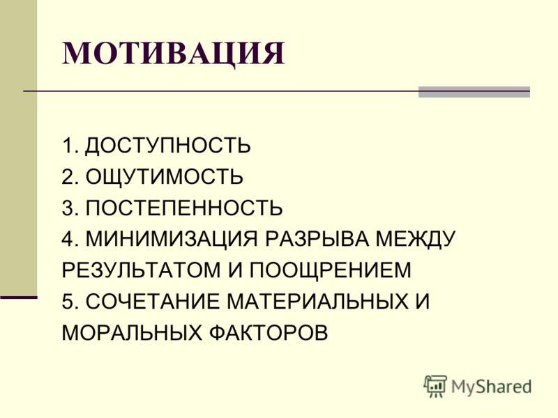 МОТИВАЦИЯ 1. ДОСТУПНОСТЬ 2. ОЩУТИМОСТЬ 3. ПОСТЕПЕННОСТЬ 4. МИНИМИЗАЦИЯ РАЗРЫВА МЕЖДУ РЕЗУЛЬТАТОМ И ПООЩРЕНИЕМ 5. СОЧЕТАНИЕ МАТЕРИАЛЬНЫХ И МОРАЛЬНЫХ ФАКТОРОВ